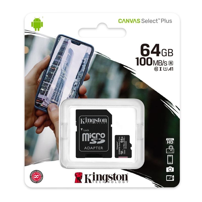 MEMORIA MICROSD KINGSTON 64GB C10  CANVAS SELECT plus SDCS2/64GB