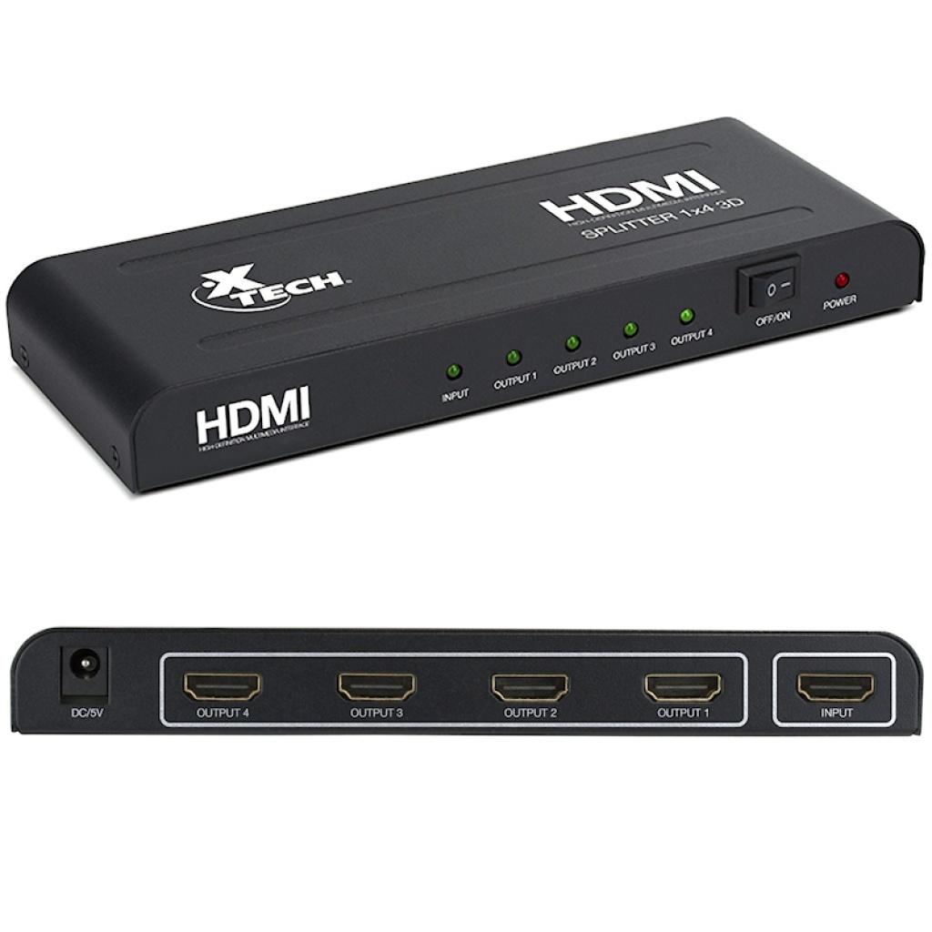 SPLITTER HDMI XTECH XHA410 4 SALIDAS 1 ENTRADA