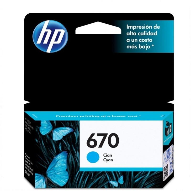 CARTUCHO HP 670 CYAN CZ114AL INK ADVANTAGE