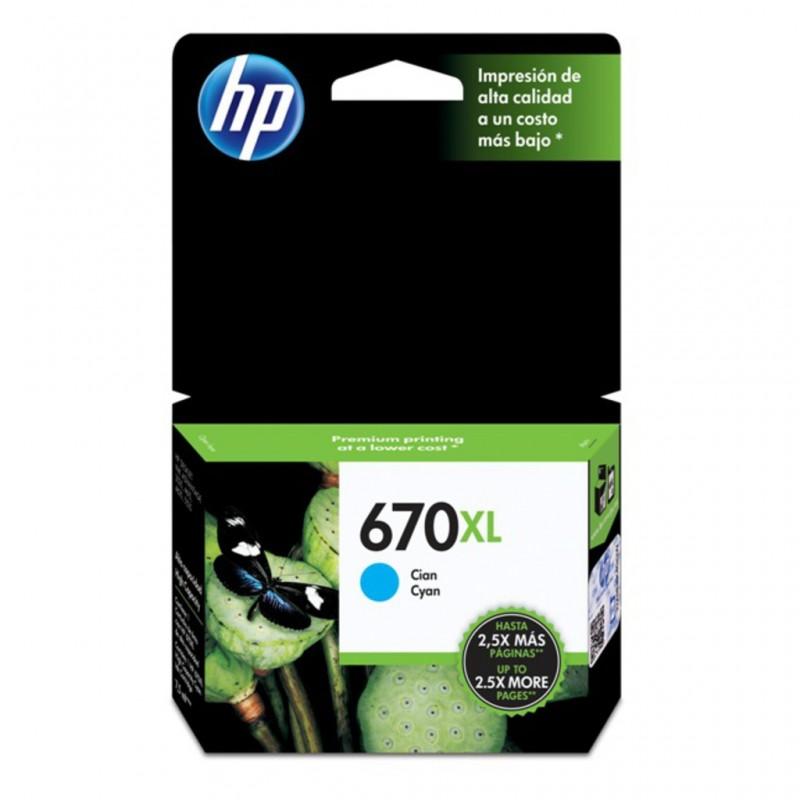 CARTUCHO HP 670XL CIAN CZ118AL 7.5ML