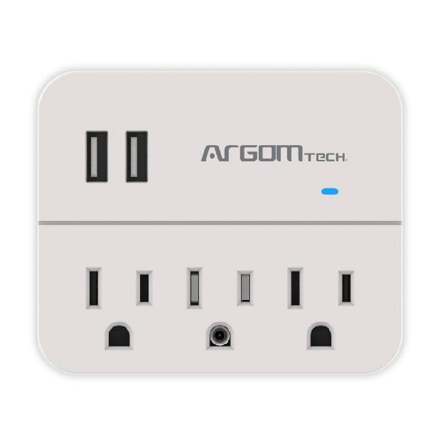 REGULADOR DE VOLTAJE ARGOM CON USB DE CARGA ARG-AC-0266WT
