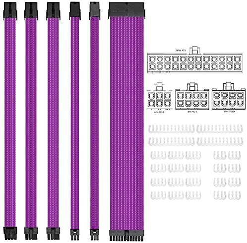SLEEVED CABLE EXTENSION DE MOBO Y GPU A 24P + 8P + PCI 8PX2 6PX2 PURPLE